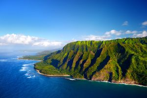 Beautiful aerial view of spectacular Na Pali coast Kauai Hawaii