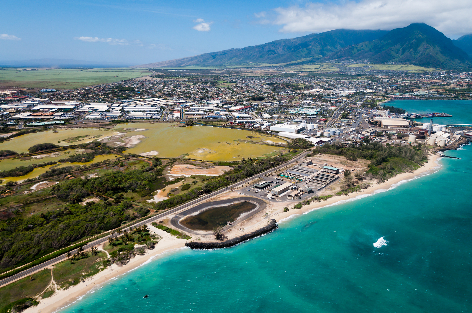 Aerial view of the city of Kahului, Maui Hawaii