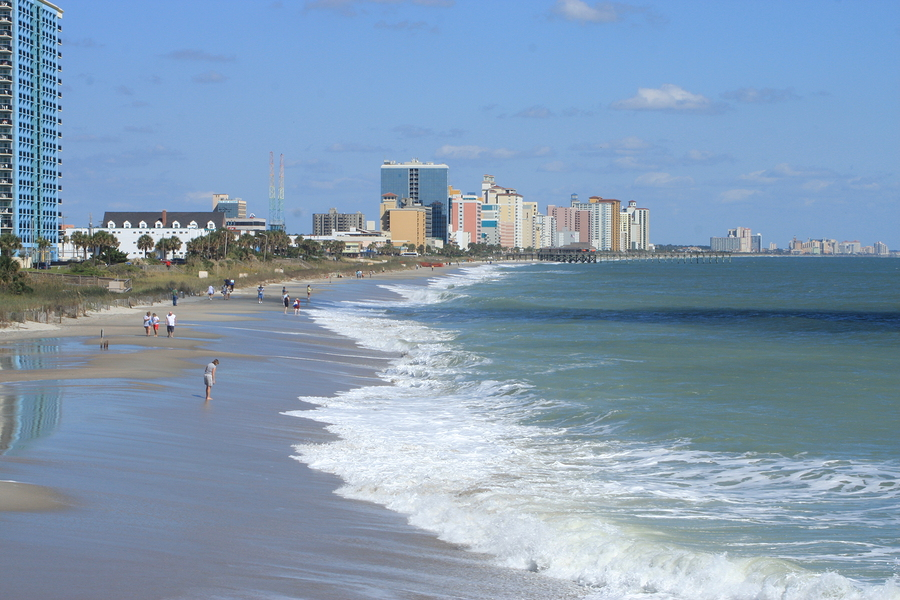 Myrtle beach coast shot from the the pier at 2nd ave north